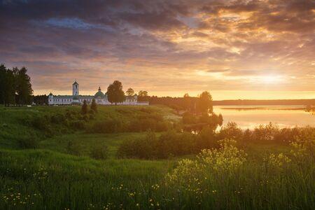 Alexander-Svirsky monastery at sunset. Staraya Sloboda, Russian North, Russia.