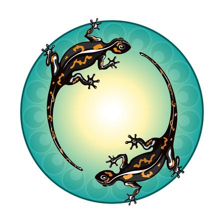 Salamander gehen mit einem Ornament auf einen grünen Kreis. Zwei Salamander folgen einander. Platz für Text. Vektorgrafik