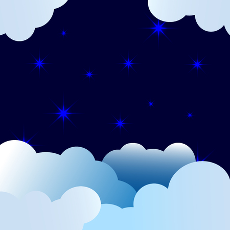 Night with clouds and bright blue stars, children's background with place for text.
