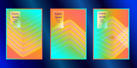 Trendy covers design. Simple overlap in colorful background.Minimal modern cover design. Dynamic colorful gradients. 矢量图像