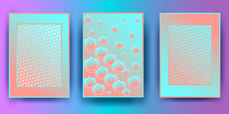 Trendy covers design. Simple overlap in colorful background.