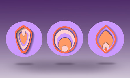 Paper style icons. Colored. Beautiful, round paper icons.