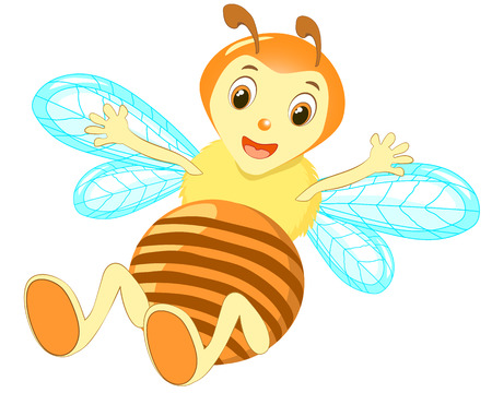 Cartoon cute bee pointing vector.White background yellow cheerful bee