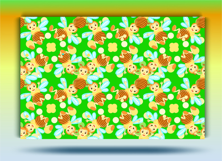 Background bee pattern.Green backgroun, yellow cheerful bee.Set. Illustration