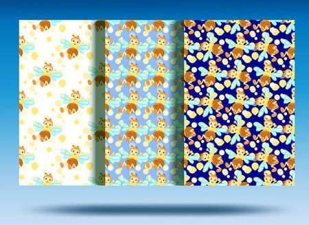 Background bee pattern. White background, yellow cheerful bee.Set. 矢量图像
