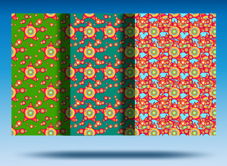 Red star pattern. Beautiful red stars on a green, blue, background. Set.