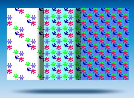 Paw print seamless. Color set. Background white, blue, blue. 矢量图像