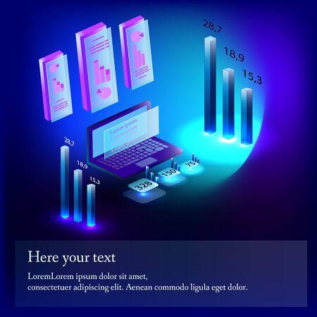 Isometry Infographics statistics. Computer numbers glow
