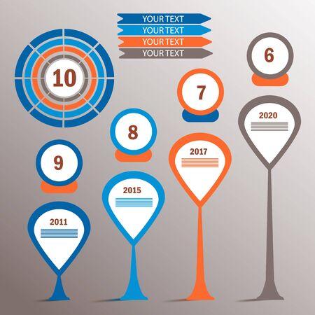 Infographic elements. Percents pie charts, steps options, timeline, vector eps10 illustration 矢量图像