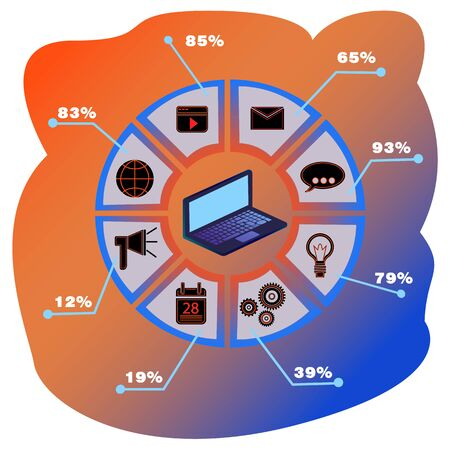 Noutbuk infographics. Infographic design with a laptop. Can be used for workflow layout, diagram, number options, web design. Eps 10 stock vector illustration.