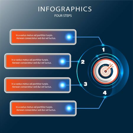 futuristic Infographics button Technology. Visualization of business data. Process scheme. Abstract graphics, diagrams with steps, options, parts, or processes.