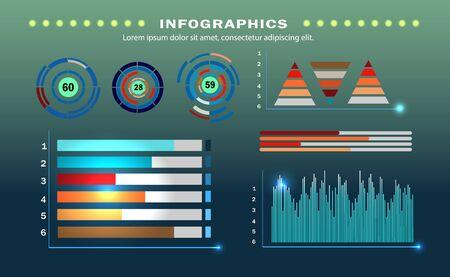 Presentation slides set. Circle diagrams, timelines, light bulb, puzzle brain head. Medicine education ecology business infographics.