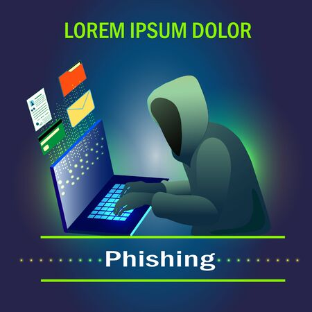 Phishing scam, hacker attack and web security vector concept. Illustration of phishing and fraud, online scam and steal