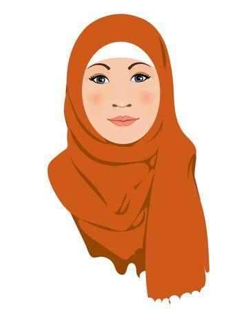 Muslim arab women character in hijab. 矢量图像