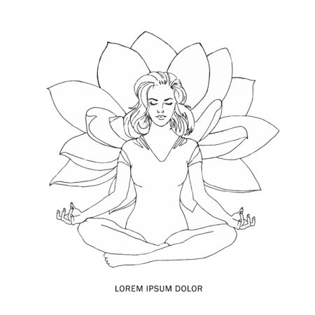 Woman meditating in nature and leaves. Concept illustration for yoga, meditation, relax, recreation, healthy lifestyle. Vector