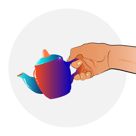 Hand holds a porcelain teapot. On a white background. You can use it as a logo, in the instructions or on the website and article about tea.