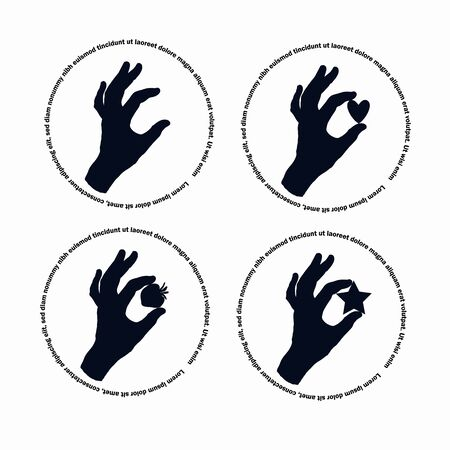 Gesture of a female hand. Black silhouette on a white background. The silhouette of a woman s hand. A set of four drawings on an isolated background with elements between your fingers.
