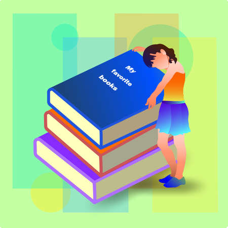 A girl stands with books, hugs books. Favorite books.