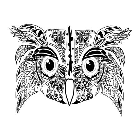 Stylized owl head for tattoo, stencil, conception, coloring. Detailed pattern. Isolated white background.