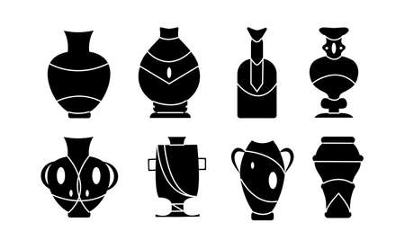 Vases and jugs on an isolated background. Vase for flower black vector illustration on white background . Pottery vase set icon.Vector illustration set icon.