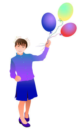 Girl with balloons. A girl on a white background is standing with balloons. Smiles. The student goes to school with balloons. 矢量图像
