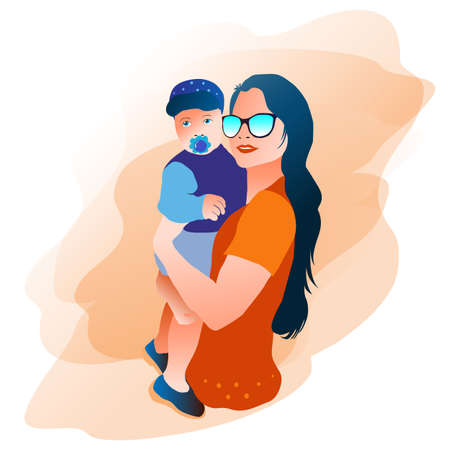 Modern mother, young in sunglasses holds a baby in her arms. Mom holds the baby in her arms.