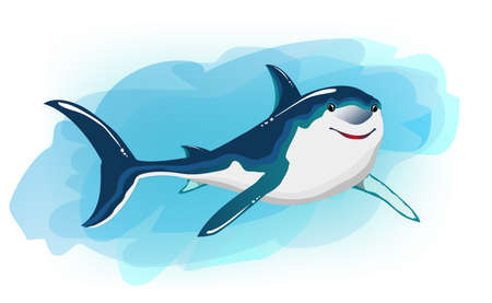Shark cartoon. Stylized character for books, board games, stickers. Can be used as a print for t-shirts and clothes.