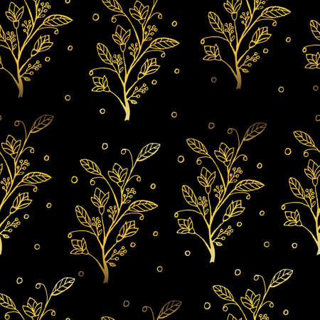 Seamless vector golden texture floral pattern. Beautiful and graceful drawing. Flowers are cast in gold and luxury. A great option for fabric, background, cover.