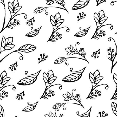 Seamless pattern. Black and white. Flowers on a white background. Thin lines. Leaves and buds. Garden.
