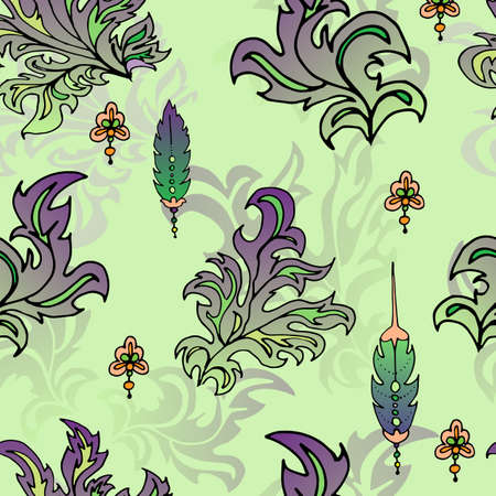 Leaves and feathers pattern. In shades of green. fantastic drawing. Abstract lines of leaves and feathers. Ilustrace