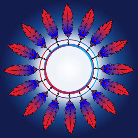Feathers in a circle. Place for text. Colored background. The colors used are blue and red. Feathers have an unusual shape and color. 矢量图像
