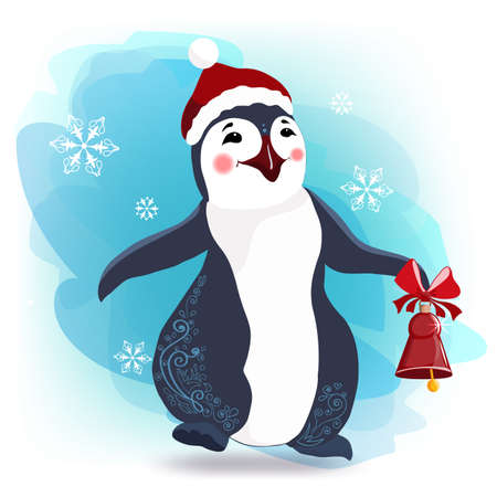 Penguin cartoon vector illustration. Christmas character. On a beautiful background with snowflakes. The drawing is isolated, the colored background is turned off. 矢量图像