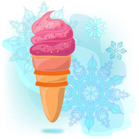 Ice cream cone. Pink bright against the background of snowflakes and blue ice haze. Snowflake of different sizes.