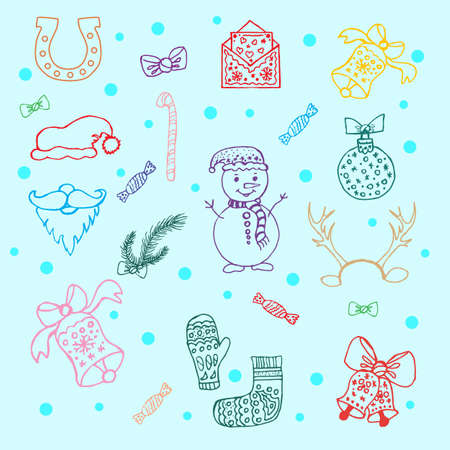 Large set of colored simple linear icons of festive New Year s Christmas things snowmen, toys, bells, gifts. Set of New Year s winter characters, decorations - Santa Claus, gift box, candy, lollipop, Christmas tree, deer, antlers, isolated vector.