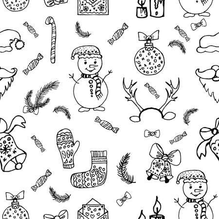 Seamless pattern of festive New Year s Christmas things snowmen, toys, bells, gifts. New Year winter characters, decorations. Santa Claus and candles, antlers and candies. Lollipops and Christmas tree branches.
