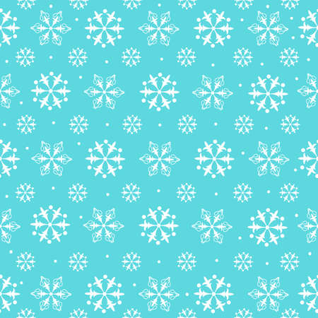 Snowflakes seamless pattern. The blue background perfectly conveys the New Year s mood. The snowflakes are harmoniously arranged and blend well with each other and the background.