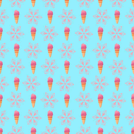 Ice cream cone and snowflakes seamless pattern. Christmas background with snow and a delicious treat. 矢量图像