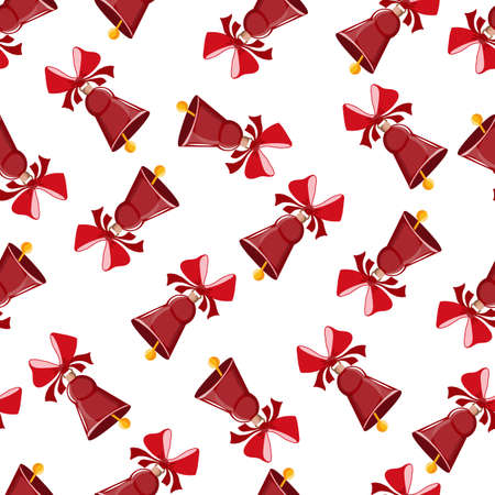 The bell is red with a red bow. On a white background. Seamless pattern. Suitable for printing on gift paper or as a separate design element. Great Christmas background.