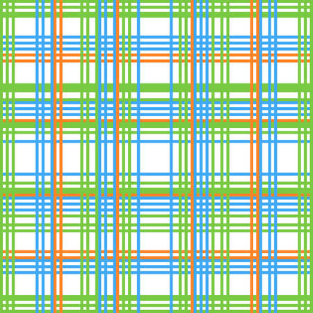 Vector seamless checkered pattern. Retro fabric background. Vintage Check Colored Square. Green, orange and blue 矢量图像