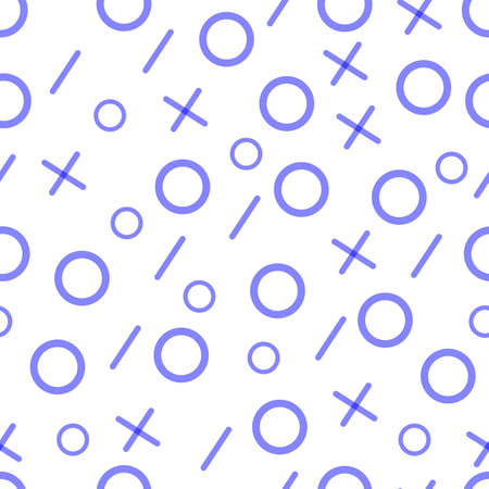 Blue pattern. Geometric line shapes. Crosses and circles. Seamless pattern in fashion style. Vector illustration for paper design, textile fabric, web design.