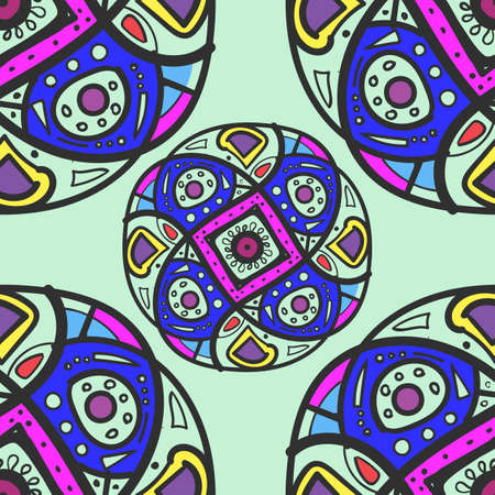 Colorful ethnic ornament. Kaleidoscope pattern. Circles with intricate patterns, bright and beautiful. Eastern motive. For printing on fabric, paper, shoes. 矢量图像