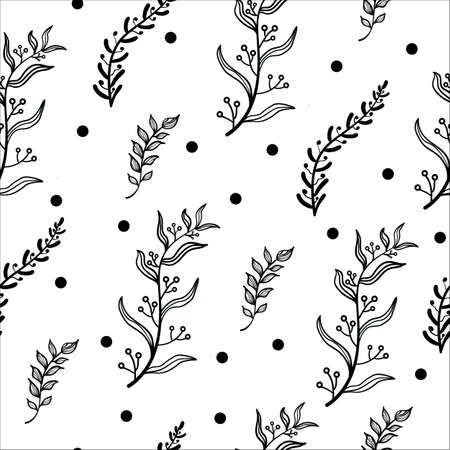 Black and white background. Vector textured, seamless pattern with branches, leaves, berries. Ideal for holidays packaging, fabrics, backgrounds.