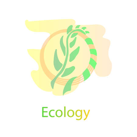 Ecology logo design concept vector. Stylized wheat and ribbon. In light pastel colors. For web and print vector drawing.