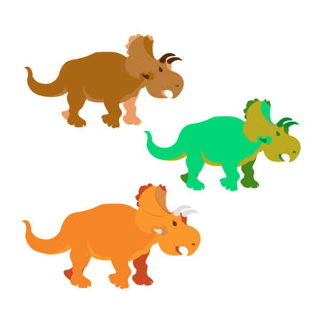 Triceratops. Vector illustration of large prehistoric animals. Various trendy colors. 矢量图像