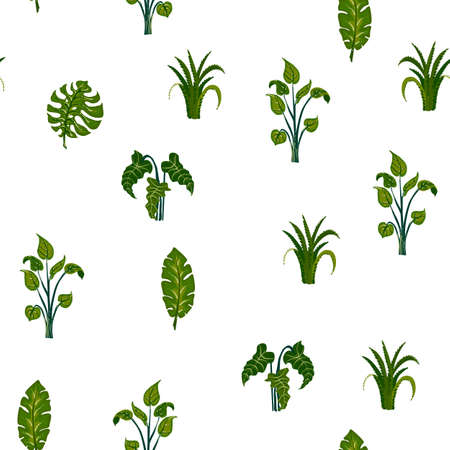 Childrens texture. Pattern with tropical leaves. For textiles and paper.