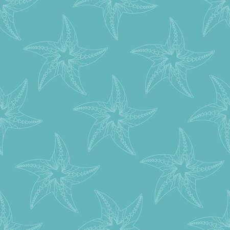 Childrens texture. Vector seamless pattern with starfish. Marine backgrounds. Sea theme. Vintage illustration. Standard-Bild - 157164677