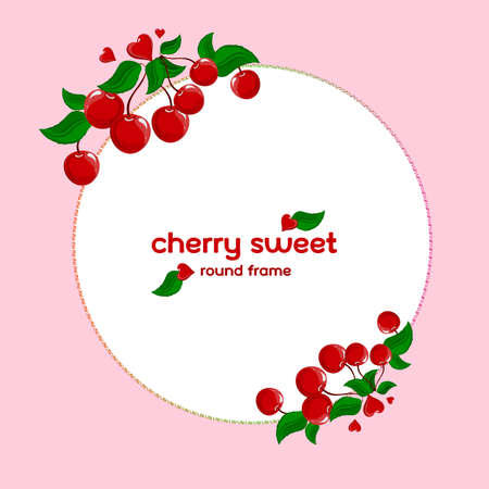 Round frame with cherries. Cherry berries and leaves. Frame for text. Ilustração