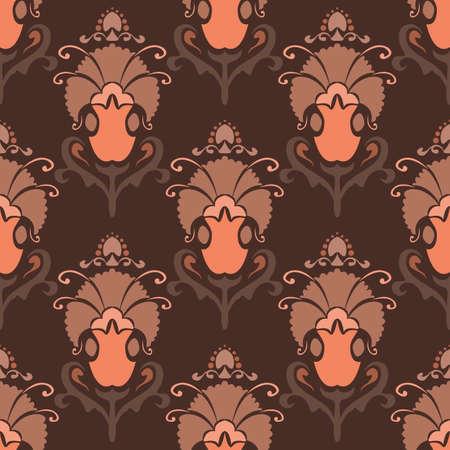 Vector illustration. Damask seamless pattern of flowers. Pastel brown pattern. Baroque classicism. Çizim