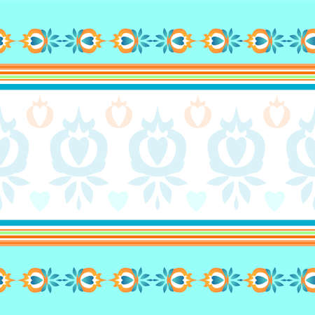 Tablecloth in vector. Seamless pattern for towels, bed linen and tablecloths. The color is blue, beige and blue. Interesting colored ornament. Illusztráció