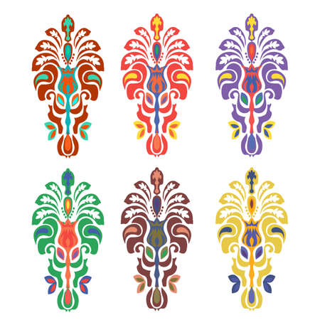 Eastern ornament. Set of colored design elements. Modern color style. Ilustrace